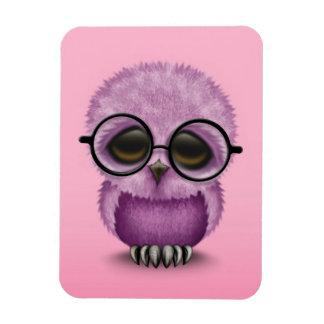 Cute Purple Baby Owl Wearing Glasses on Pink Rectangular Magnet