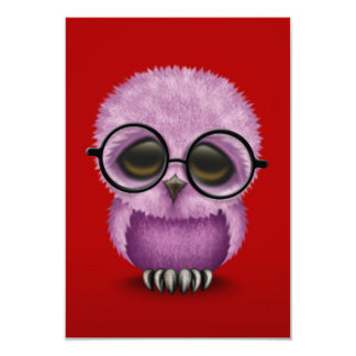 Cute Purple Baby Owl Wearing Glasses on Red Card