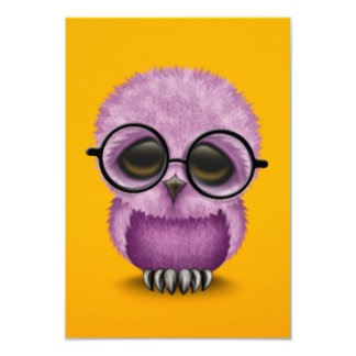 Cute Purple Baby Owl Wearing Glasses on Yellow Card
