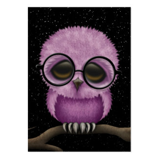 Cute Purple Baby Owl Wearing Glasses with Stars Business Cards