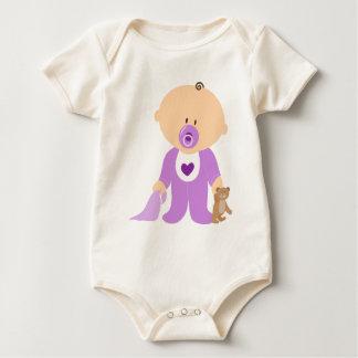 Cute Purple Baby & Teddy Bear Romper