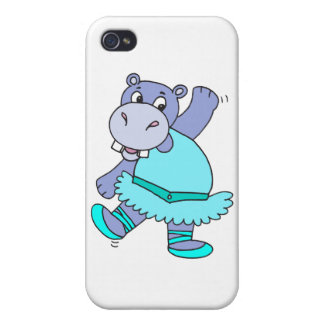 cute purple ballerina ballet hippo character cover for iPhone 4