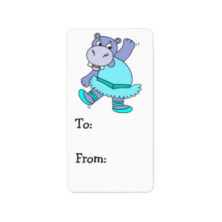 cute purple ballerina ballet hippo character label