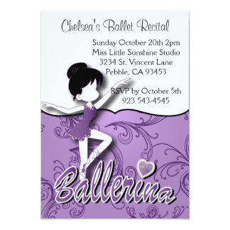 Cute Purple Ballerina Girl | Ballet Dance Recital Card