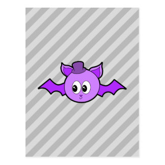 Cute Purple Bat with Hat. Postcard