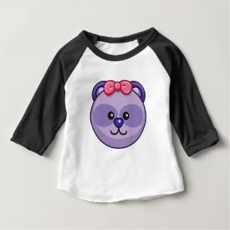 Cute Purple Bear Cartoon Black Customizable Baby Baby T-Shirt