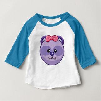 Cute Purple Bear Cartoon Neon Blue Custom Baby Baby T-Shirt