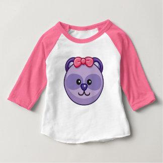 Cute Purple Bear Cartoon Neon Pink Custom Baby Baby T-Shirt