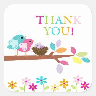 Cute Purple Bird Nest Thank You Baby Shower Square Square Sticker