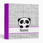 Cute Purple Black Personalized Panda School Binder
