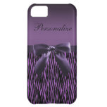 Cute purple bow on zebra pattern personalized case for iPhone 5C