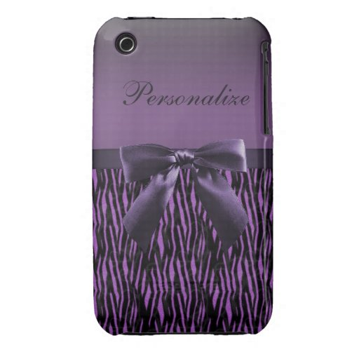Cute purple bow on zebra pattern personalized iPhone 3 cover