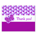 Cute Purple Butterfly Flat Thank You Note Cards