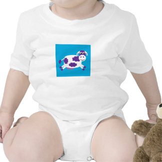 Cute Purple Cartoon Cow On Blue Background Bodysuits