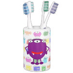 Cute Purple Cartoon Monster Bathroom Set