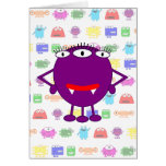 Cute Purple Cartoon Monster Greeting Card