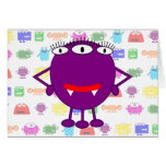 Cute Purple Cartoon Monster Greeting Cards