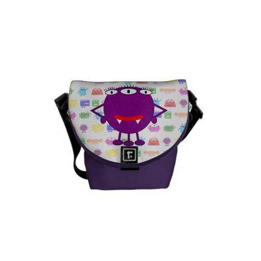 Cute Purple Cartoon Monster Messenger Bags