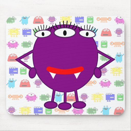 Cute Purple Cartoon Monster Mouse Pad