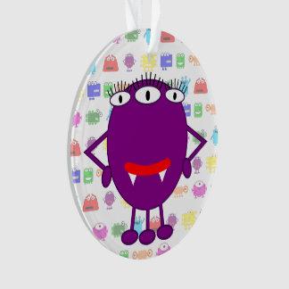 Cute Purple Cartoon Monster Ornament