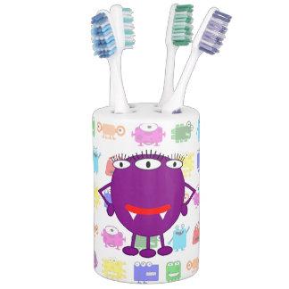 Cute Purple Cartoon Monster Bathroom Set