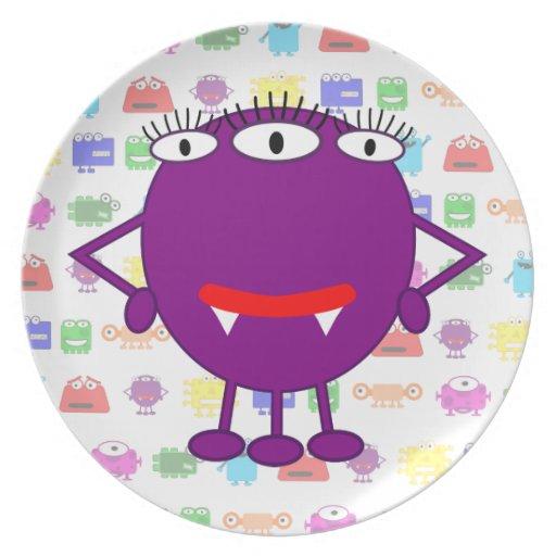 Cute Purple Cartoon Monster Plates