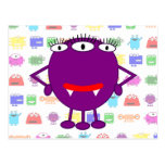 Cute Purple Cartoon Monster Postcard