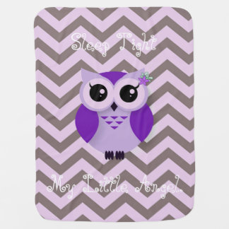 Cute purple cartoon owl chevron background stroller blanket