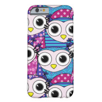 Cute purple cartoon owls seamless pattern barely there iPhone 6 case