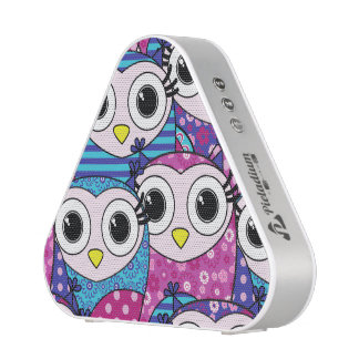 Cute purple cartoon owls seamless pattern bluetooth speaker