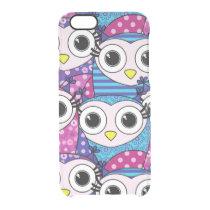 Cute purple cartoon owls seamless pattern clear iPhone 6/6S case