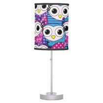 Cute purple cartoon owls seamless pattern desk lamp