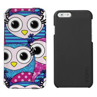 Cute purple cartoon owls seamless pattern iPhone 6/6s wallet case