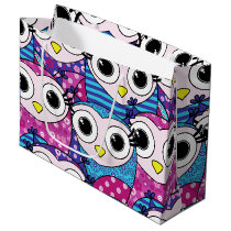 Cute purple cartoon owls seamless pattern large gift bag