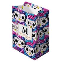 Cute purple cartoon owls seamless pattern medium gift bag