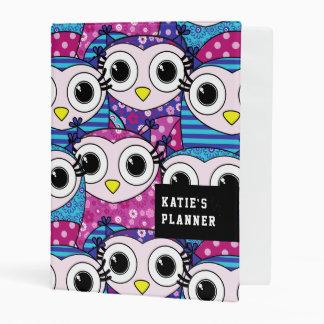 Cute purple cartoon owls seamless pattern mini binder