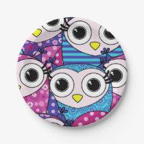 Cute purple cartoon owls seamless pattern paper plate