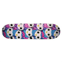 Cute purple cartoon owls seamless pattern skateboard deck