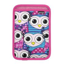 Cute purple cartoon owls seamless pattern sleeve for iPad mini