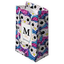 Cute purple cartoon owls seamless pattern small gift bag