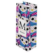 Cute purple cartoon owls seamless pattern wine gift bag