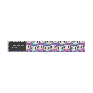 Cute purple cartoon owls seamless pattern wrap around address label