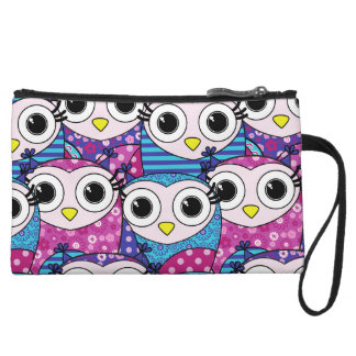 Cute purple cartoon owls seamless pattern wristlet wallet
