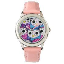 Cute purple cartoon owls seamless pattern wristwatch