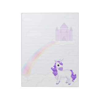 Cute Purple Cartoon Unicorn and Castle Notepads