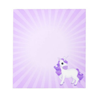 Cute Purple Cartoon Unicorn Small Notepads