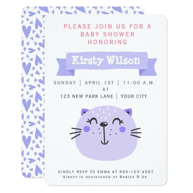 Cute Purple Cat | Baby Shower Invitation