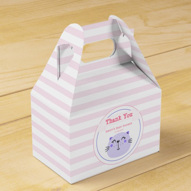 Cute Purple Cat | Baby Shower 'Thank You'