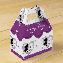 Cute Purple Cat Bride & Groom Wedding Favor Box
