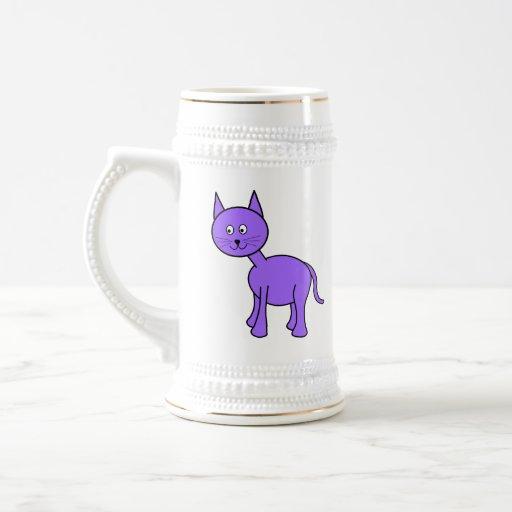 Cute Purple Cat Cartoon. 18 Oz Beer Stein